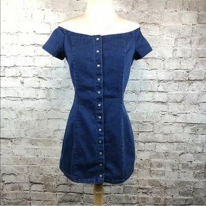 Forever 21 Off Shoulder Denim Mini Dress